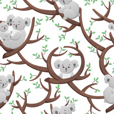 Ilustración de Funny seamless pattern with cartoon koalas. Template for design, print, packaging, wallpaper - Imagen libre de derechos