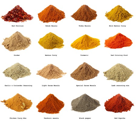 sixteen piles of Indian powder spices with its names - Red chillies, Kebab masala, Tikka masala, Mild Madras Curry, Ginger, Madras curry, Turmeric, Coloring Food,  Carlic Coriander seasoning, Light Garam masala, Special Garam Masala, Lamb seasoning mix, C