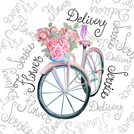 Illustration pour Watercolor retro bicycle with flowers illustration. Isolated. Stock vector. Flower delivery service shop. - image libre de droit