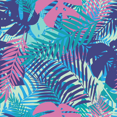 Illustration pour Fashion tropical seamless pattern. Colorful palm leaves. Modern trendy endless background. Vector. - image libre de droit