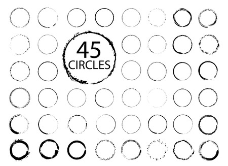 Illustration pour Big collection of hand drawn circles. Vector grunge design elements. - image libre de droit