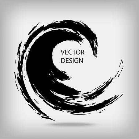 Illustration pour Hand drawn circle shape. Circular label, design element, frame. Brush abstract wave. Black enso zen symbol. Vector illustration. Place for text. - image libre de droit