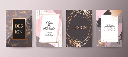 Illustration for Gold, pink brochure, flyer, invitation, card - Royalty Free Image