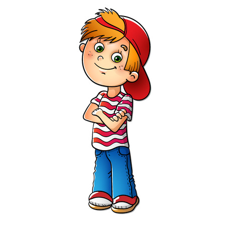 Illustration pour Boy in a red cap and striped t-shirt isolated on white - image libre de droit