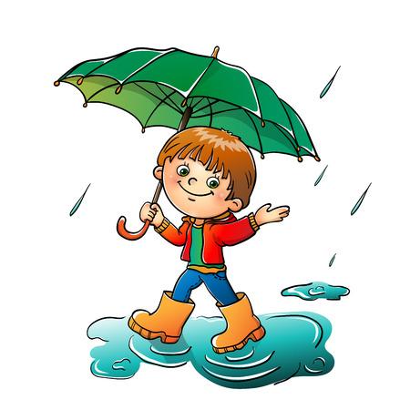 Joyful boy walking in the rain isolated on white background