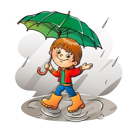 Joyful boy  walking in the rain isolated on white