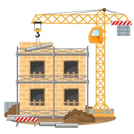 Illustration pour Color images of build of house, elevating crane on a white background. Vector illustration for kids. - image libre de droit