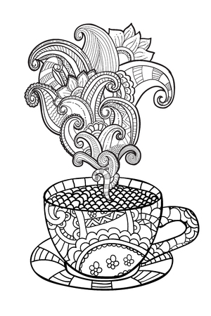 Illustration for Vector coffee or tea cup with abstract ornaments. Hand drawn illustration in zentangle style for coloring book for adult. Coloring pages. - Royalty Free Image