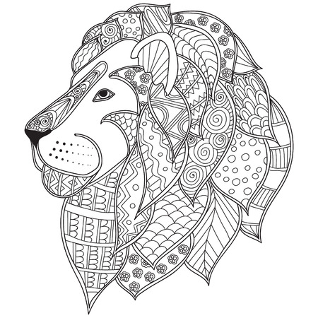 Illustration for Hand drawn ornamental outline lion head illustration decorated with abstract doodles. Coloring pages for adults book. - Royalty Free Image