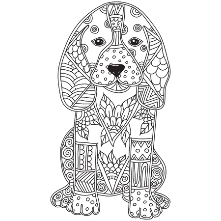 Illustration pour Dog Adult antistress or children coloring page. Hand drawn animal doodle. Sketch for tattoo, poster, print, t-shirt . Vector illustration - image libre de droit