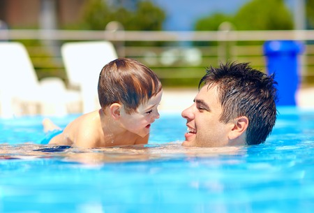 Photo for happy family in summer pool - Royalty Free Image