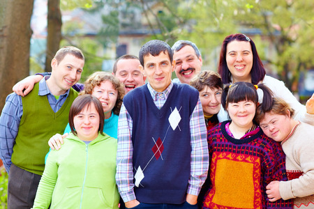 Foto de group of happy people with disabilities - Imagen libre de derechos