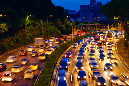 heavy traffic moving on the road in twilight, Kuala Lumpur