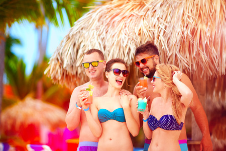 Photo pour group of happy friends having fun on tropical beach, summer holiday party - image libre de droit
