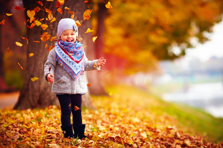 Photo for beautiful happy baby girl having fun in autumn park, among fallen leaves - Royalty Free Image