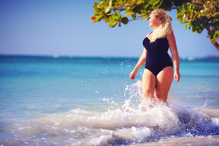 Photo for young woman in swimwear on the beach - Royalty Free Image