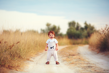 Photo for cute toddler baby boy having fun playing on the path at summer field - Royalty Free Image