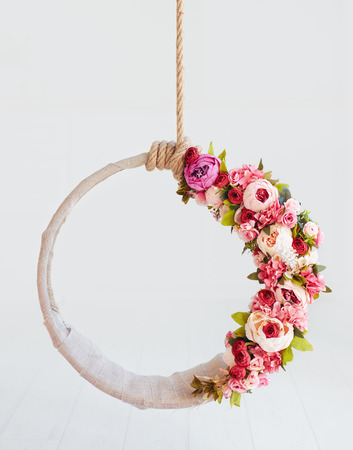 Photo for newborn baby photography swing, DIY floral hanging hoop - Royalty Free Image