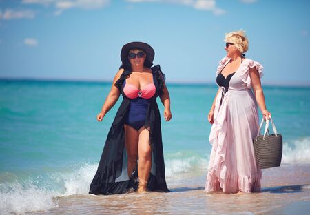 Photo for happy plus suze, adult women enjoy summer vacation at the beach - Royalty Free Image
