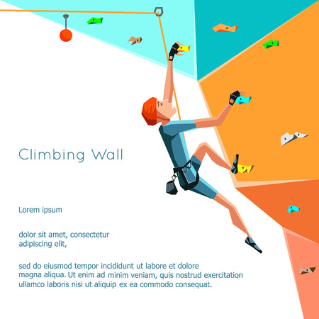 Illustration pour Training climbing wall with grips and holds. Rock Climbing boy. Stylized climbing wall Isolated On White Background. Bouldering sport. Graphic Climbing Design Editable. Vector Illustration - image libre de droit