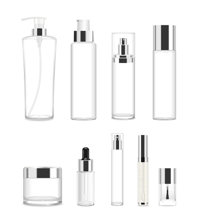 Illustration pour Collection of nine cosmetic acrilic or glass tubes isolated on white. Silver and white colors. Modern design. Place for your text. Detailed vector illustration - image libre de droit
