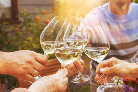 Photo pour Family of different ages people cheerfully celebrate outdoors with glasses of white wine, proclaim toast People having dinner in a home garden in summer sunlight. - image libre de droit