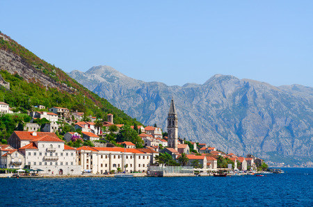 Foto de Beautiful view from sea to popular resort town of Perast, Kotor Bay, Montenegro - Imagen libre de derechos