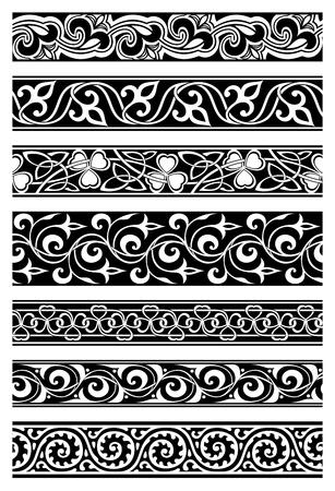 Illustration pour set of seven seamless floral borders - image libre de droit