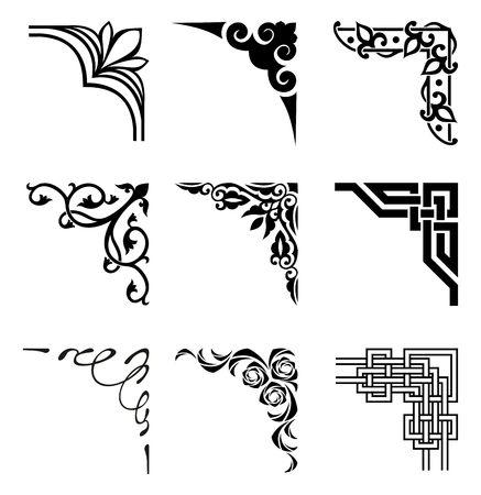 Illustration pour set of ornamental corners in different style - image libre de droit