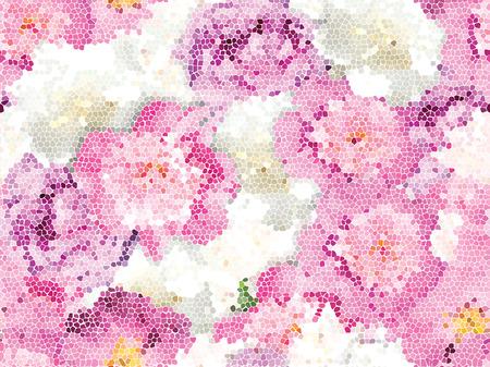 Illustration pour Seamless peony mosaic texture - image libre de droit