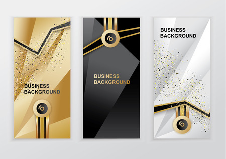 Illustration pour Vertical luxury gold black silver banners. Triangle abstract vector background - image libre de droit