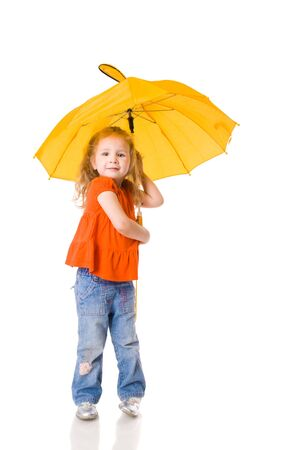 Little Girl standing with umbrella isolated on white