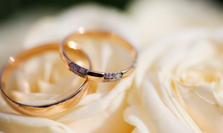 Photo pour Two Golden Wedding Rings on flowers macro shot - image libre de droit