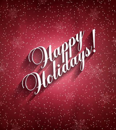 Ilustración de Happy Holidays Background With Snow, Snowflakes And Title Inscription With Shadow - Imagen libre de derechos