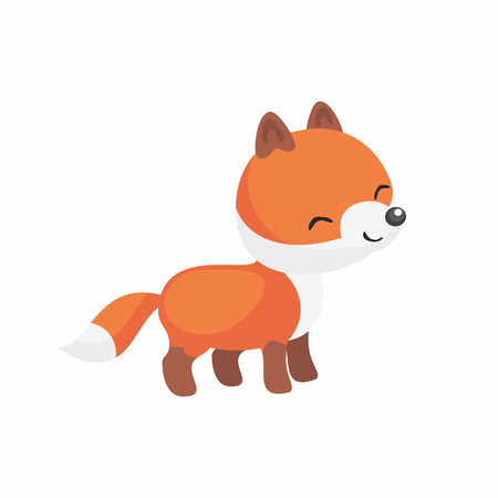 The image of a cute little fox in a cartoon style. Vector children's illustration.