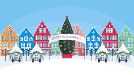 Illustration pour Christmas fair in the old town. Vector background. - image libre de droit