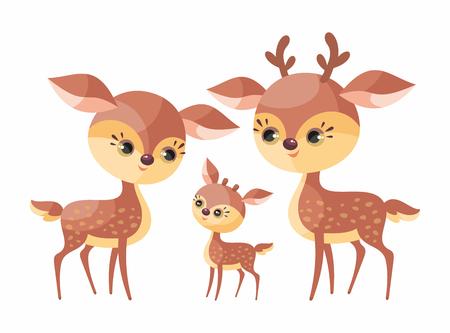 Ilustración de Deer family. Cute animals with cub. Vector illustration in cartoon style isolated on a white background. - Imagen libre de derechos