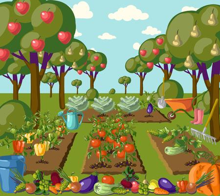 Illustration for Vintage garden banner with root veggies illustration - Royalty Free Image