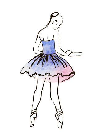 Illustration for Vector hand drawing ballerina figure, watercolor illustration - Royalty Free Image
