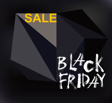Black Friday Sale handmade lettering, calligraphy with film grain, noise, dotwork, grunge texture and light background for logo. Vector illustration.