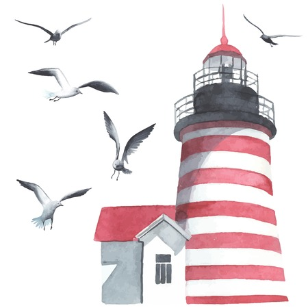 Photo for Watercolor lighthouse and seagulls - Royalty Free Image