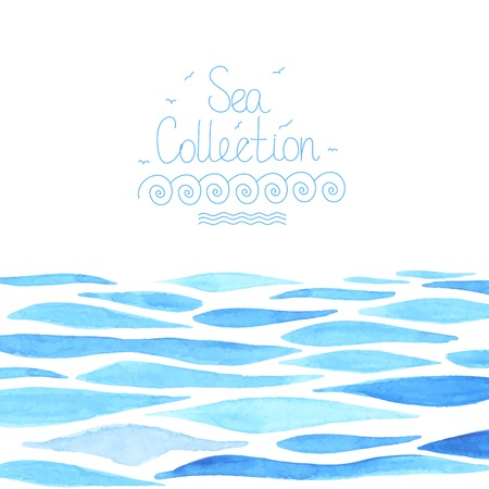 Ilustración de Hand painted watercolor sea background  - Imagen libre de derechos
