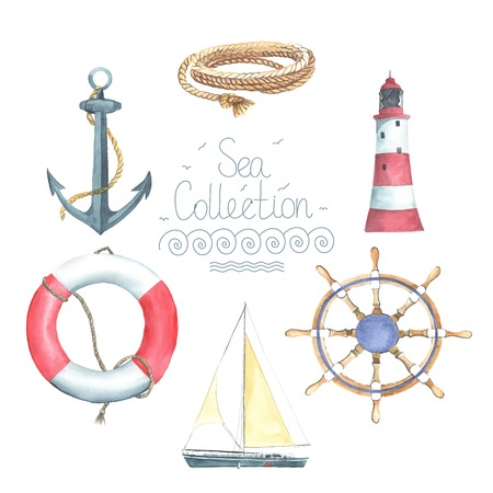 Illustration pour Set of watercolor nautical elements. Lighthouse, helm, sailing boat, lifebuoy, anchor,  rope. Each one is separately. - image libre de droit