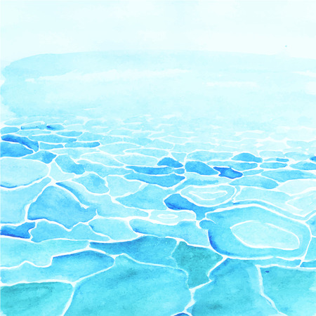 Illustration pour Hand painted watercolor sea background made in vector. - image libre de droit