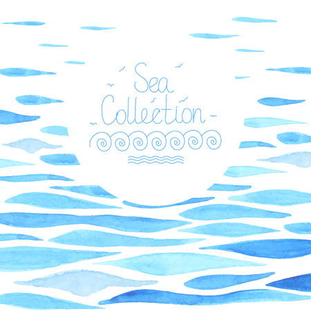 Ilustración de Watercolor sea background made in vector. Sea frame. Template for card. - Imagen libre de derechos