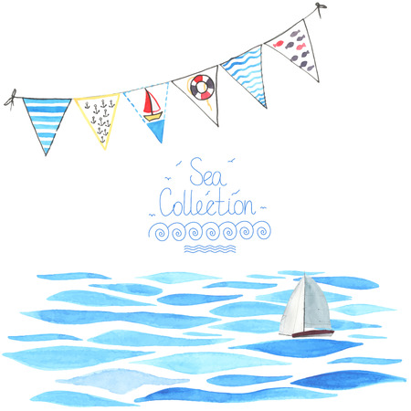Ilustración de Watercolor sea background with sailboat and garland.  All object made in vector. Each one is separately. - Imagen libre de derechos