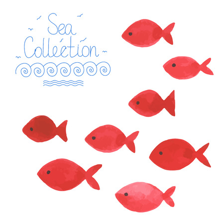 Watercolor simple red fishes. All object made in vector. Each one is separately.