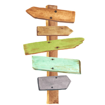 Illustration pour Watercolor wooden signpost. Directions to different places. - image libre de droit