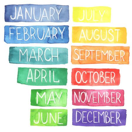 Illustration pour Hand painted atercolor  rainbow calendar made in vector.Ttablets with months - image libre de droit
