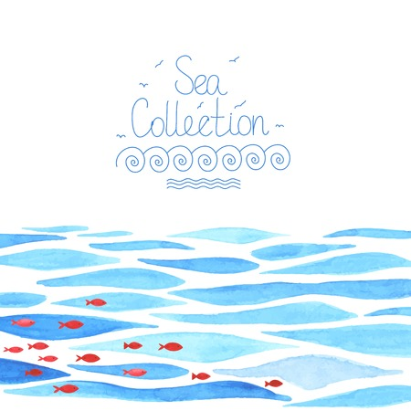 Ilustración de Watercolor sea background with red fish. All object made in vector. Each one is separately. - Imagen libre de derechos